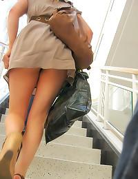 Up her dress in public