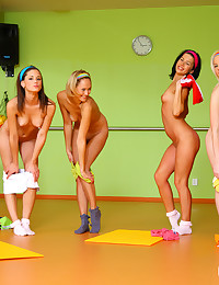 4 18yo schoolgirls do pilates, get naked and play with cock