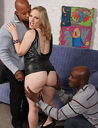 Busty Blonde Tames Two Black cocks