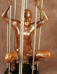 Full shiny catsuit on beauty