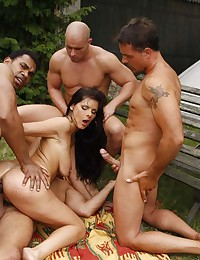 Girl gangbanged by big cocks