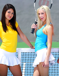 Sporty tennis girls lesbian threesome