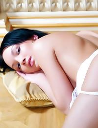 Glamorous beauty in white lingerie