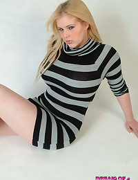 Dream of Ashley - Blonde busty pulls her sexy tight dress down to her waist showing tits