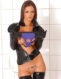 Solo strapon girl in latex