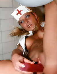 Hot blonde nurse shaved pussy