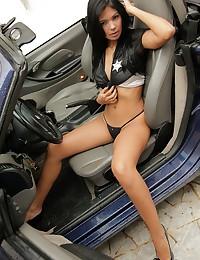 Karla Spice - Dreamboat latina hides tiny black thongs under sexy police uniform