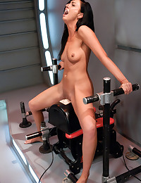 Sexy all natural girl machine fucked speechless - her pussy rammed with thick, curved cocks going top speed on the machines until she is cum drunk!