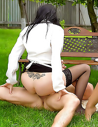 Glamorous women clothed sex o...