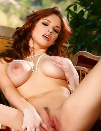 Wavy red hair on total babe