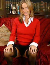 Only Melanie - Sexy black panties and stockings on the sweater girl