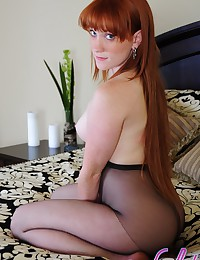 Lucy Daily - Natural redhead with perfectly white skin rips her hose into shreds