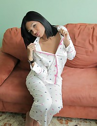 Karla Spice - Sweet swarthy teen in pajamas turns into totally irresistible stripper