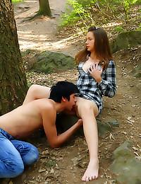 Teen couple sex in woods