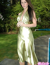 Kates Playground - Her green dress is shiny and her cleavage sizzles