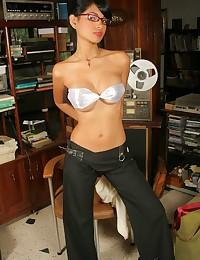 Karla Spice - Horny latina office broad posing seductively