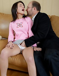Insatiable girl Sandra agreed to please her teacher's lust and after brutal fucking received a mouthfull of hot cum.