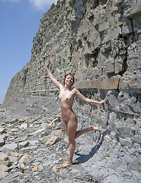Nudists walking around the beach