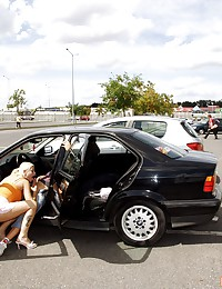 Sex with busty blonde at crowded parking lot