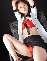 Satin panties on sexy Asian girl