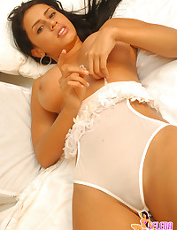 Selena Spice - Classy latina lady posing in seductive white lingerie