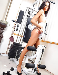 Small tits girl works out