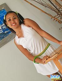 Adorable Asian teen smiling