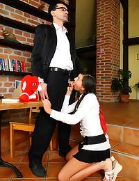 Short skirt teen wants teache...