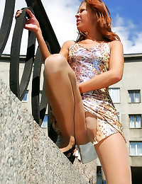 Upskirt with pantyhose girl o...