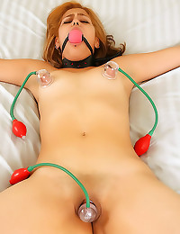 Gagged and bound girl toy fuc...
