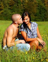 Erotic sex in a field