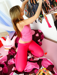 Cute teen in pink tights