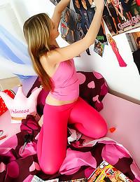 Cute teen in pink tights