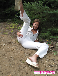 Melissa Doll - Girl posing outdoors in all white and she sizzles