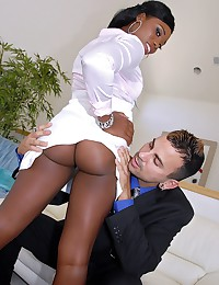 Black girl sucks white dick