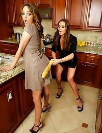 Kitchen counter lesbian sex