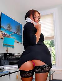 Big tits office slut