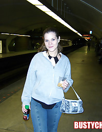 Busty Christy - Young teen honey flashes her boobies in the subway