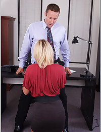 Elegant office blonde pumped