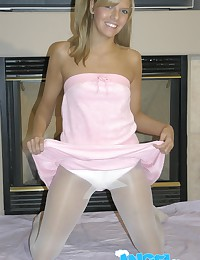 Blonde angel in white pantyho...