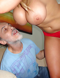 Old guy blown by babe