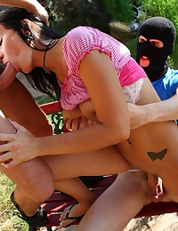 She was having rest in her garden when two boys came scared her and then drilled her tight dripping wet hole.