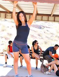 Cute sporty girl outdoor nudi...