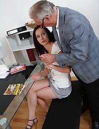 Anastasia greedily sucks her teacher's cock