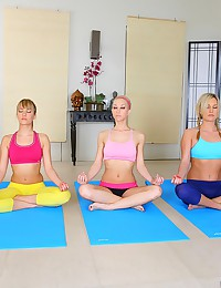 Three yoga girls have lesbian sex