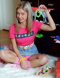 Horny teen in socks toys her ...