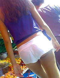 sexy girl in shorts upskirts. Voyer upskirt