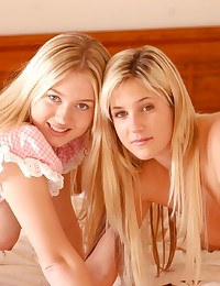 Alison Angel - Two smoking hot blonde angels teasing on the bed