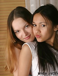 Ivana Fukalot - Strip show from two amazingly hot teens - an Asian and a European one