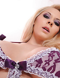 Lace lingerie on blonde pornstar